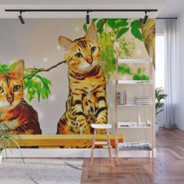 The Bengal Cat Couple Wall Mural
