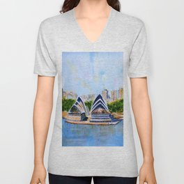 Colorful Sydney Harbor Unisex V-Neck