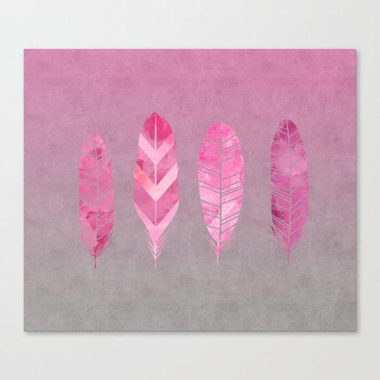 Feathers pink grunge watercolor art Canvas Print