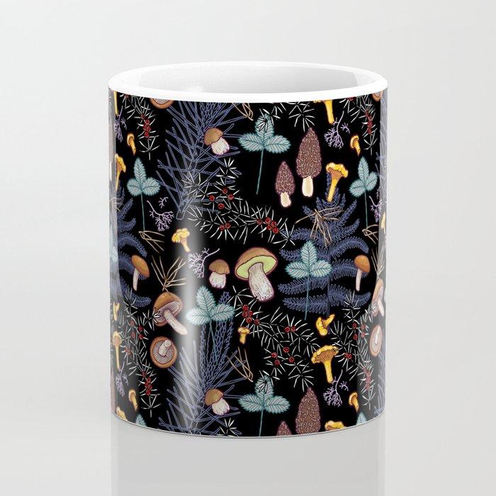 dark wild forest mushrooms Coffee Mug