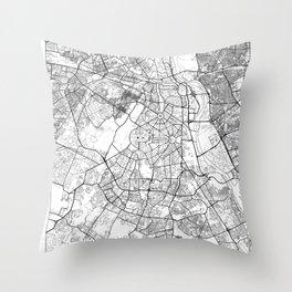 New Delhi Map White Throw Pillow