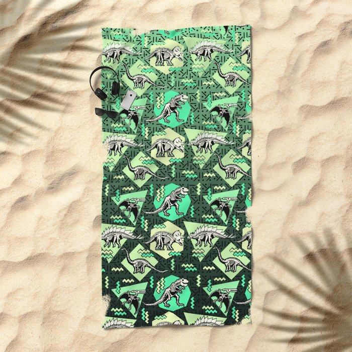 90's Dinosaur Skeleton Neon Pattern Beach Towel