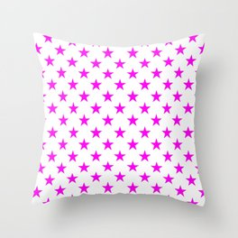 Stars (Magenta & White Pattern) Throw Pillow
