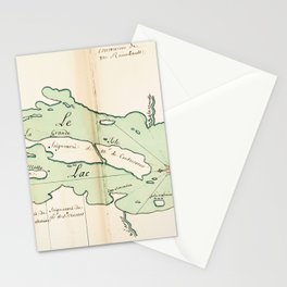 Vintage Map of Lake Champlain (1739) Stationery Cards