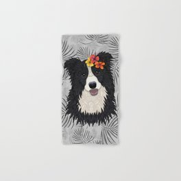 Happy Border Collie with Flowers Hand & Bath Towel