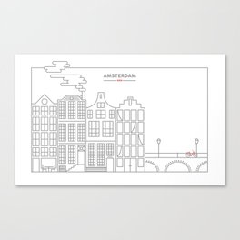 The Outlines of Amsterdam Canvas Print