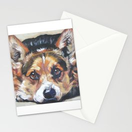 Pembroke Welsh Corgi dog art portrait from an original painting by L.A.Shepard Stationery Cards