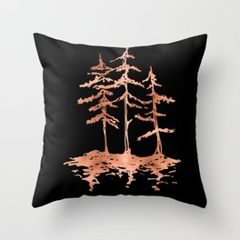 THE THREE SISTERS Trees Rose Gold Throw Pillow