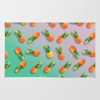 pineapple Area & Throw Rugs featuring Pineapple by mark ashkenazi