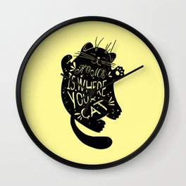 Home is where your cat Wall Clock