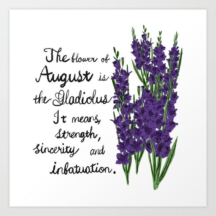 Gladiolus - Birth Month Flower for August Art Print
