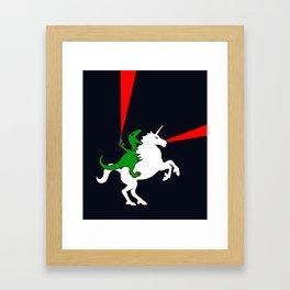 Dinosaur Riding Unicorn (With Lasers) Framed Art Print