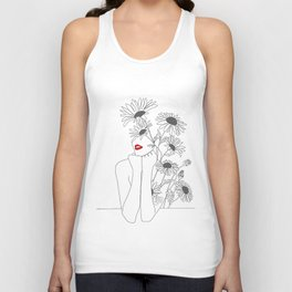 Minimal Line Art Girl with Sunflowers Unisex Tank Top