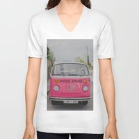 hot pink V-neck T-shirts featuring Hot Pink Lady by Hello Twiggs