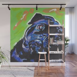Black Pug Dog Portrait bright colorful Pop Art Painting by LEA Wall Mural