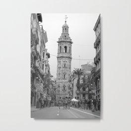 Black White Architecture in Valencia Metal Print