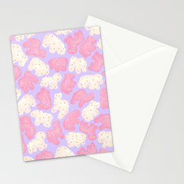 Frosted Animal Cookies on Lilac Stationery Cards