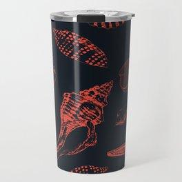 Underwater creatures in red and dark blue Travel Mug