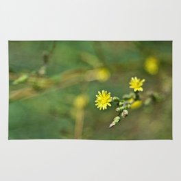 Golden flowers by the lake 1 Rug