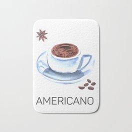 Americano Café Watercolor Bath Mat