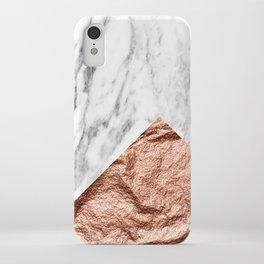 Marble & rose gold foil geometric design iPhone Case