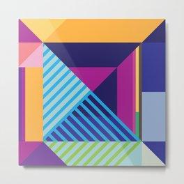 Modern Vibrant Geometric Pattern #4 Stripes and Triangles Metal Print