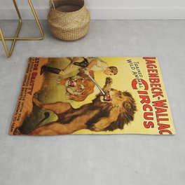 Hagenbeck Wallace Circus - Clyde Beatty Lion Tamer Vintage Poster Rug
