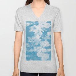 Spring Atmosphere White Flowers Sky Blue Background #decor #society6 #homedecor Unisex V-Neck