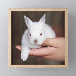 Bunny in hand Framed Mini Art Print