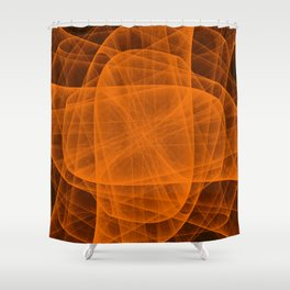 Eternal Rounded Cross in Orange Brown Shower Curtain