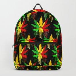 Marijuana Leaf Rasta Colors Dripping Paint Backpack