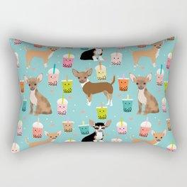 Chihuahua bubble tea kawaii boba tea cute dog breed pattern dog art chihuahuas Rectangular Pillow