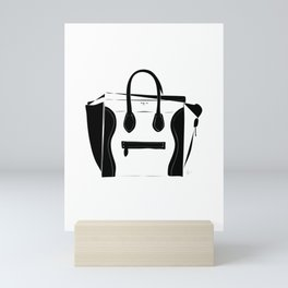 Black and White Luggage Handbag Tote Pattern Mini Art Print