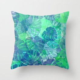 monstera leaves tropical 2 Throw Pillow