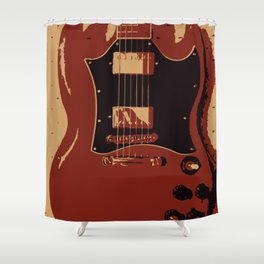 Red Electric Guitar Shower Curtain