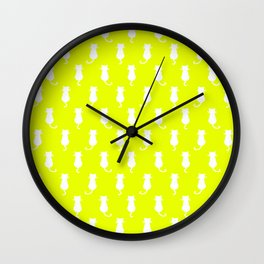 White Cat Polka Dot Pattern Isolated on Yellow Wall Clock
