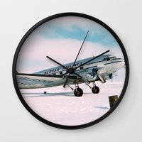 aviation Wall Clocks featuring Vintage aviation photograph Alaska Airlines airplane air plane classic pilot flight travel photo by iGallery