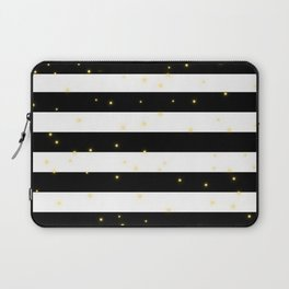 Black and White Stripes with Golden Dots Laptop Sleeve