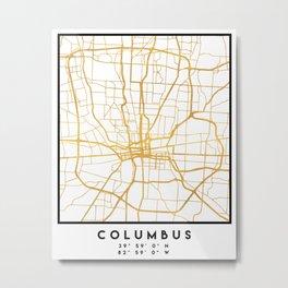 COLUMBUS OHIO CITY STREET MAP ART Metal Print