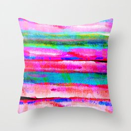 Bohemian styled abstract rainbow painting in pastel pink, blue and green colors Throw Pillow