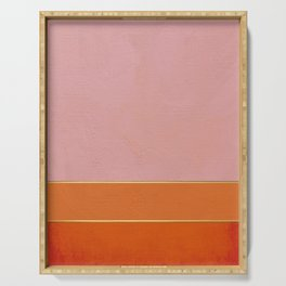 Orange, Pink And Gold Abstract Painting Serving Tray