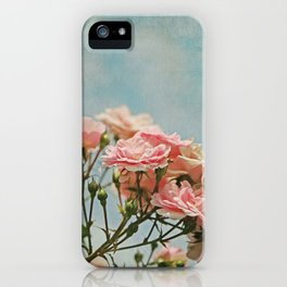 Vintage Inspired Pink Roses in Pastel Blue Sky with French Script iPhone Case