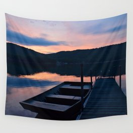 Pretty Adirondack Dawn: Jon Boat and Old Dock Wall Tapestry