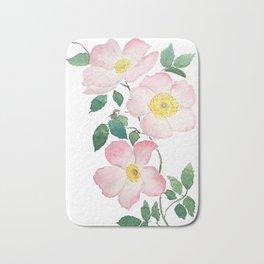 pink rosa rubiginosa watercolor Bath Mat