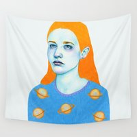 saturn Wall Tapestries featuring Saturn Girl by Natalie Foss