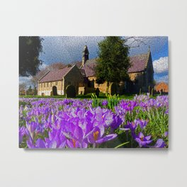 Flowers with church Metal Print