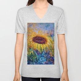 Sunflower Painting - In The Swirls Of Sunshine  Unisex V-Neck