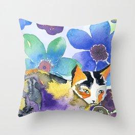 Calico & Flowers Throw Pillow