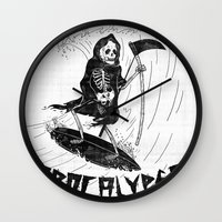 apocalypse now Wall Clocks featuring Surf Now, Apocalypse Later by Alejandro Giraldo