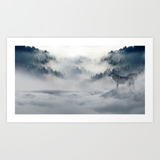 Wolves Among the Snowcaped Mountain Art Print